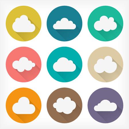 벡터 평면 구름 아이콘 웹 및 모바일 응용 프로그램을 설정합니다. 소재 디자인. 일러스트
