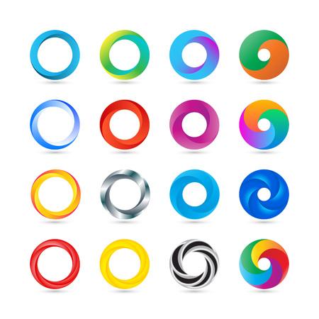 ビジネス抽象的な円形のアイコン。企業、メディア、テクノロジーのスタイルは、デザインをベクトルします。  イラスト・ベクター素材