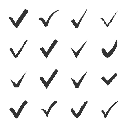 affirmative: Vector set of black confirm check box icons for web
