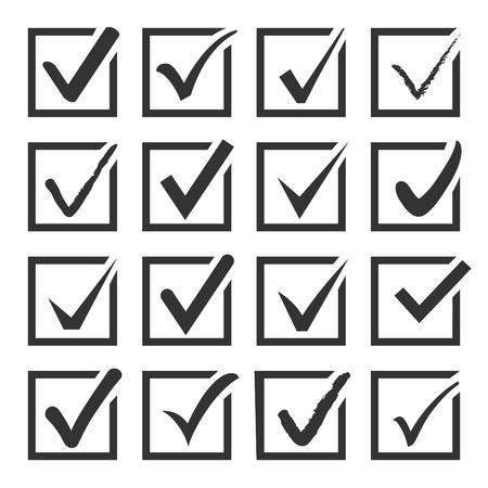 Vector set van zwarte bevestigen selectievakje pictogrammen voor web Stock Illustratie