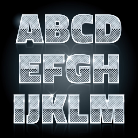 diamond letters: Vector silver steel stamped alphabet. Diamond letters A to M Illustration