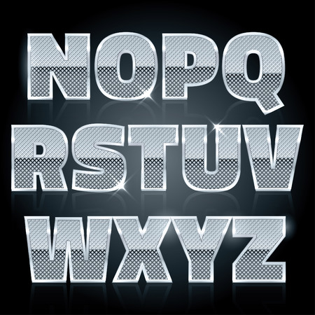 diamond letters: Vector silver steel stamped alphabet. Diamond letters N to Z