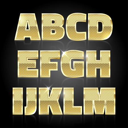 glittering: Gold glittering metal alphabet. Letters A to M Illustration