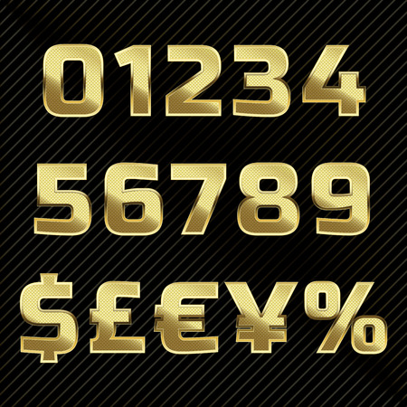 black metallic background: Gold glittering metal alphabet set numbers, currency signs.