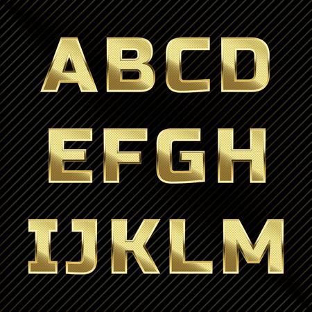 tipos de letras: El oro brillante conjunto alfabeto de metal. Las letras A a H Vectores