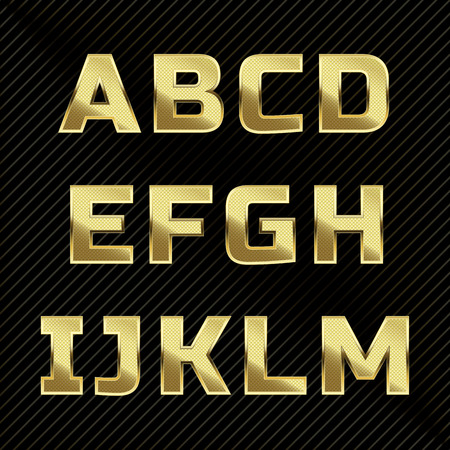 metal letter: Gold glittering metal alphabet set. Letters A to M Illustration