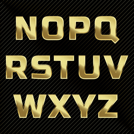 black metallic background: Gold glittering metal alphabet set. Letters N to Z