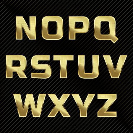 Gold glittering metal alphabet set. Letters N to Z