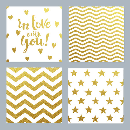 Seasons greeting cards set with gold confetti glitter background. Perfect for valentines day, birthday and celebrations. Seamless pattern. Illustration
