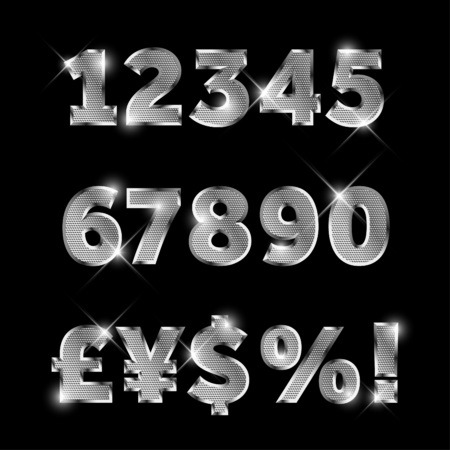 currency glitter: Silver metal font set with letters, numbers, currency sings and special symbols Illustration