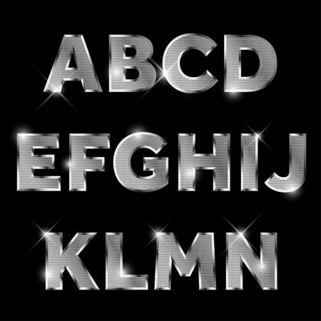 letras cromadas: Alfabeto de metal de plata conjunto de la A a la N mayúscula. Vectores