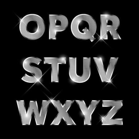 Zilver metaal alfabet set van O tot Z hoofdletters. Stock Illustratie