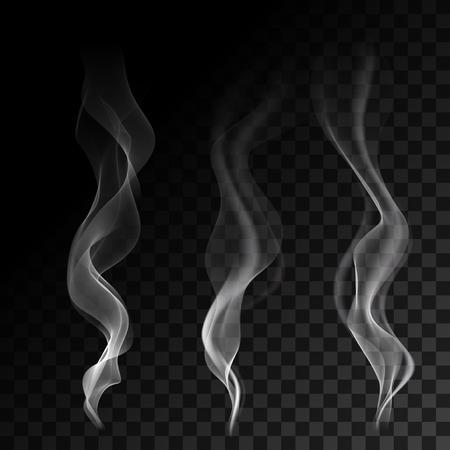 in the smoke: Blancas olas de humo de cigarrillo humeante en el fondo transparente. Ilustración del vector. Vectores