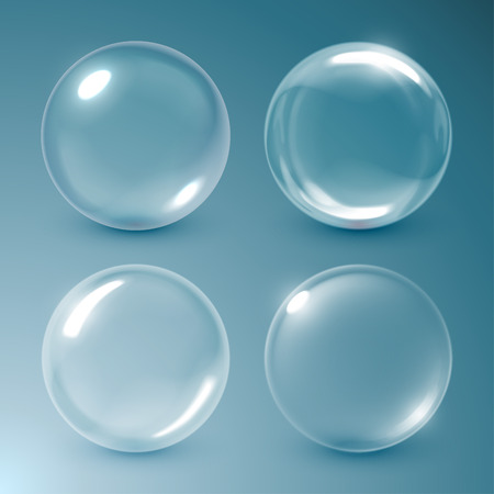 water: Transparent soap bubbles. Vector illustration