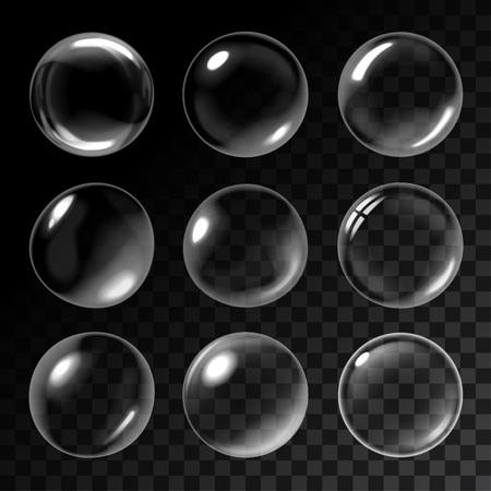 Transparent soap bubbles. Vector illustration