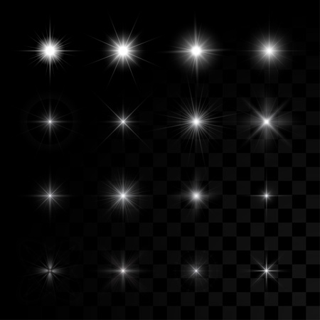 Set of vector glowing light effect stars bursts with sparks on transparent background.