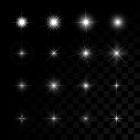 Set van vector gloeiende licht effect sterren barst met vonken op transparante achtergrond.