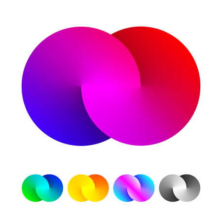 Vector origami infinity circle icon. Colorful spectrum loop shape design icons.