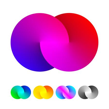 simbolo infinito: Vector de origami círculo infinito icono. bucle espectro de iconos de colores de diseño de la forma.