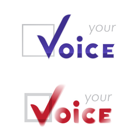 opt: Vector word voice with checkmark in box icon Illustration