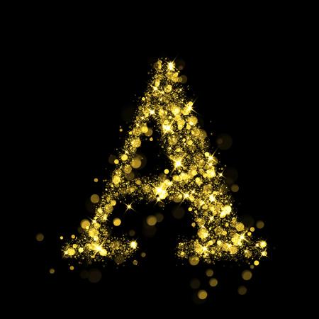 burning alphabet: Sparkling letter A on black background. Part of alphabet set of golden glittering stars. Christmas holiday illustration of bokeh shining stars.