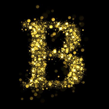 letter b: Sparkling letter B on black background. Part of alphabet set of golden glittering stars. Christmas holiday illustration of bokeh shining stars.