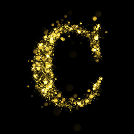 golden font: Sparkling letter C on black background. Part of alphabet set of golden glittering stars. Christmas holiday illustration of bokeh shining stars.