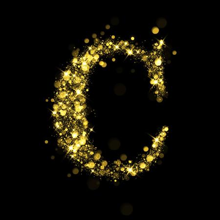 letter c: Sparkling letter C on black background. Part of alphabet set of golden glittering stars. Christmas holiday illustration of bokeh shining stars.