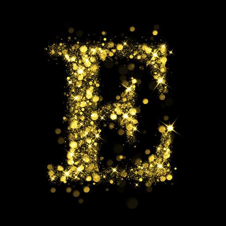 e new: Sparkling letter E on black background. Part of alphabet set of golden glittering stars. Christmas holiday illustration of bokeh shining stars.