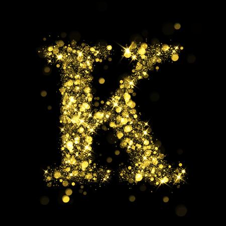 letter k: Sparkling letter K on black background. Part of alphabet set of golden glittering stars. Christmas holiday illustration of bokeh shining stars.