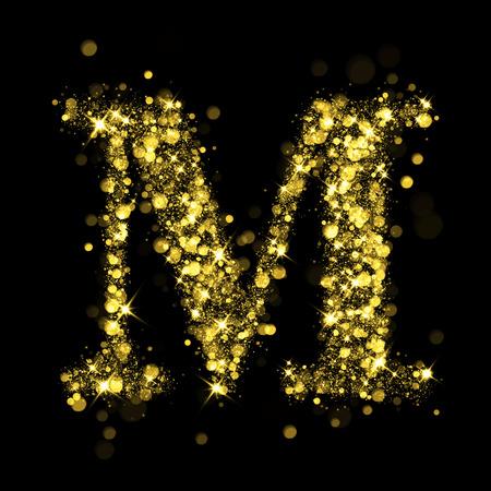 burning letter: Sparkling letter M on black background. Part of alphabet set of golden glittering stars. Christmas holiday illustration of bokeh shining stars.