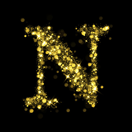 letter: Sparkling letter N on black background. Part of alphabet set of golden glittering stars. Christmas holiday illustration of bokeh shining stars.