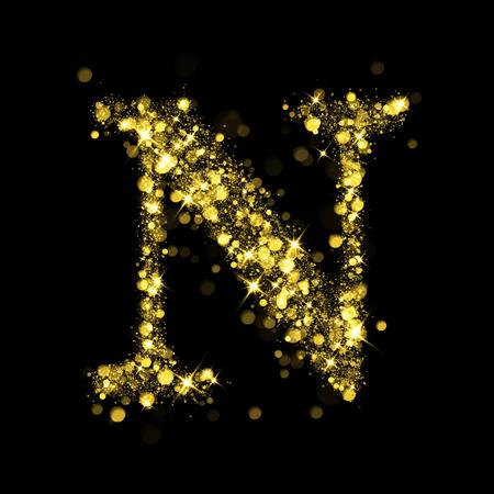 Sparkling letter N on black background. Part of alphabet set of golden glittering stars. Christmas holiday illustration of bokeh shining stars.
