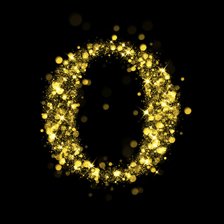 cocao: Sparkling letter O on black background. Part of alphabet set of golden glittering stars. Christmas holiday illustration of bokeh shining stars.