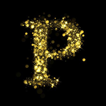 lettre alphabet: lettre Sparkling P sur fond noir. Une partie de jeu d'�toiles scintillantes d'or de l'alphabet. No�l illustration de vacances de bokeh �toiles brillantes.