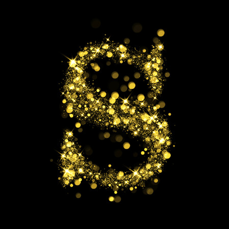 illuminating: Sparkling letter S on black background. Part of alphabet set of golden glittering stars. Christmas holiday illustration of bokeh shining stars.