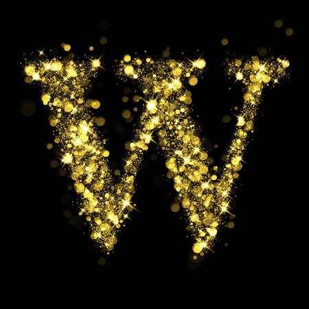 letter alphabet: Sparkling letter W on black background. Part of alphabet set of golden glittering stars. Christmas holiday illustration of bokeh shining stars. Stock Photo