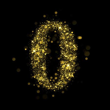 tipos de letras: Sparkling n�mero 0 en fondo negro. Parte del conjunto alfabeto de las estrellas brillantes de oro. Ilustraci�n vacaciones de Navidad de bokeh estrellas brillantes.
