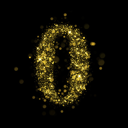 burning alphabet: Sparkling number 0 on black background. Part of alphabet set of golden glittering stars. Christmas holiday illustration of bokeh shining stars.