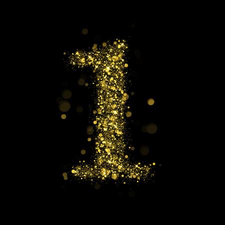 glamor: Sparkling number 1 on black background. Part of alphabet set of golden glittering stars. Christmas holiday illustration of bokeh shining stars.
