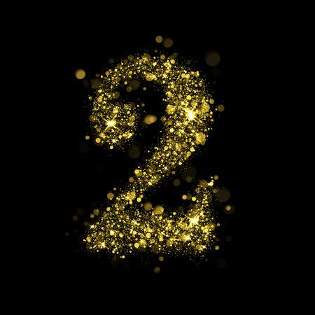 Sparkling number 2 on black background. Part of alphabet set of golden glittering stars. Christmas holiday illustration of bokeh shining stars.