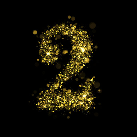 glittering: Sparkling number 2 on black background. Part of alphabet set of golden glittering stars. Christmas holiday illustration of bokeh shining stars.