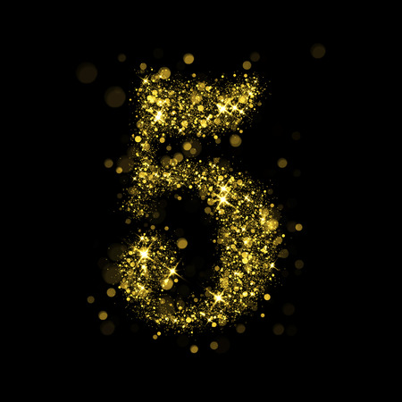 golden font: Sparkling number 5 on black background. Part of alphabet set of golden glittering stars. Christmas holiday illustration of bokeh shining stars.