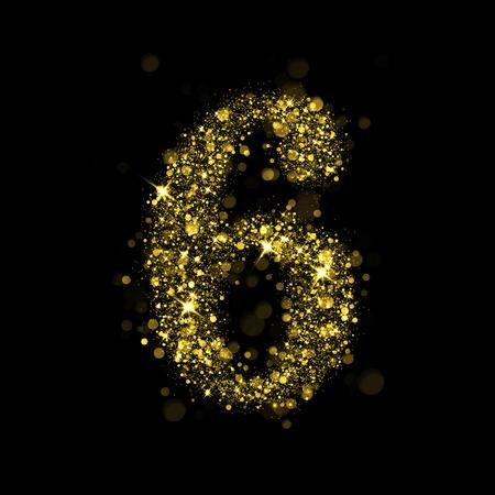 burning: Sparkling number 6 on black background. Part of alphabet set of golden glittering stars. Christmas holiday illustration of bokeh shining stars. Stock Photo
