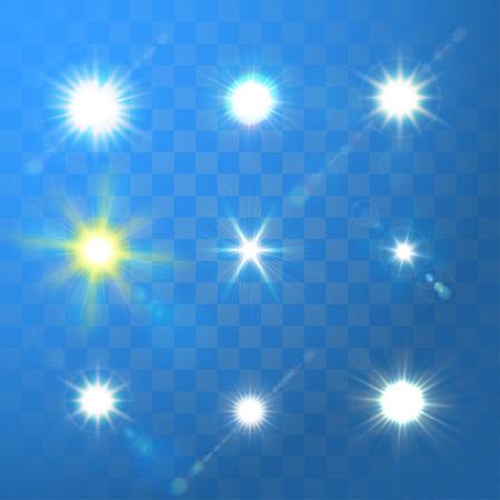 sunburst: Set of vector glowing sun light sparks on blue transparent background. Illustration
