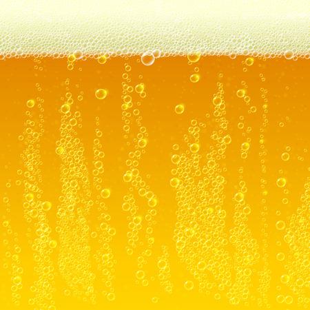 burbuja: Fondo de la textura de la cerveza con espuma y burbujas. Ilustración vectorial