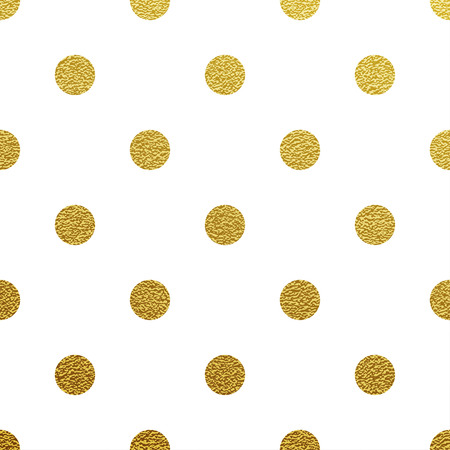 round dot: Gold glittering polka dot seamless pattern