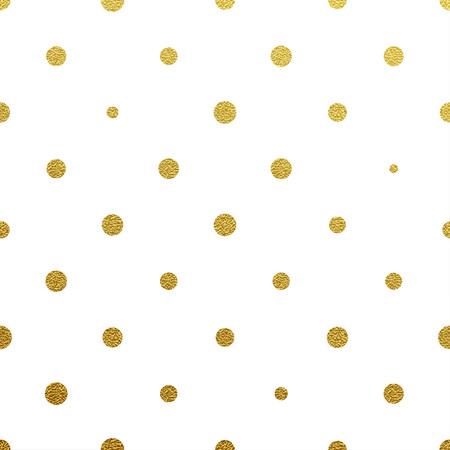 Gold glittering polka dot seamless pattern on white background