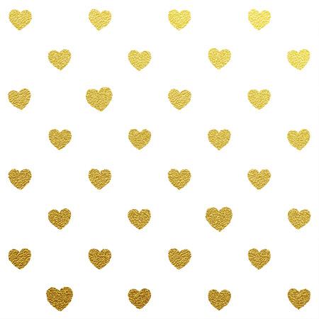 Oro brillante sin patrón de corazones en el fondo blanco
