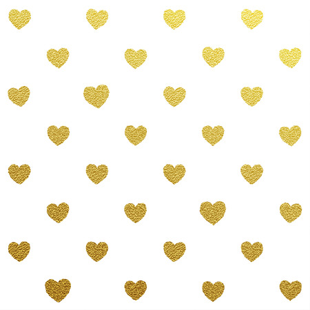 Gold glittering seamless pattern of hearts on white background Illustration